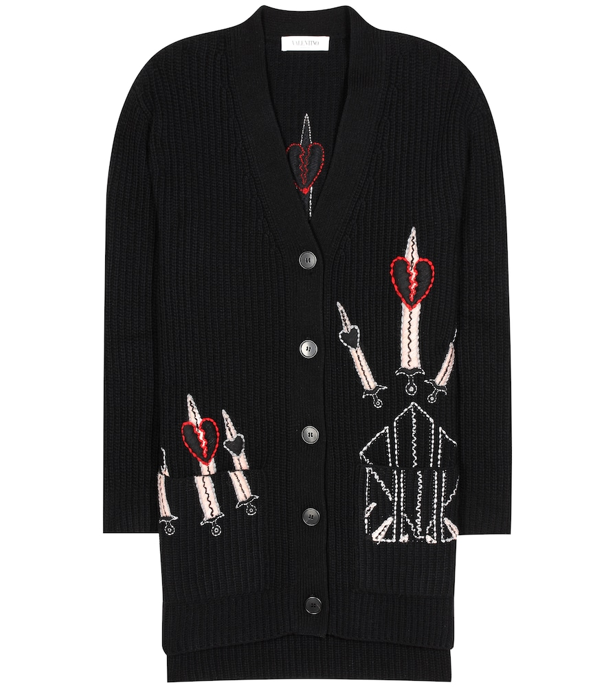 Embroidered wool and cashmere cardigan
