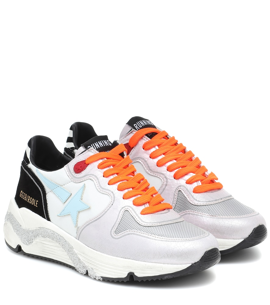 Running Sole leather and mesh sneakers