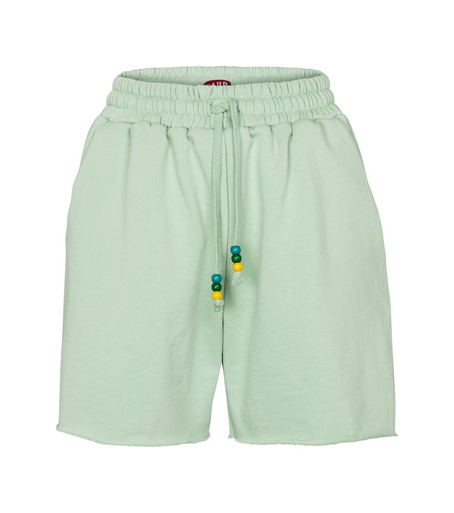 Staud Logo Cotton Terry Sweat Shorts In Green