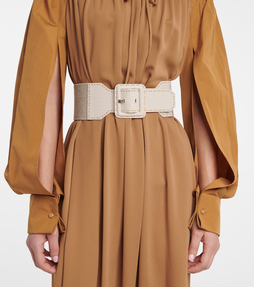 MAX MARA Belts ELCOCCO LEATHER-TRIMMED BELT