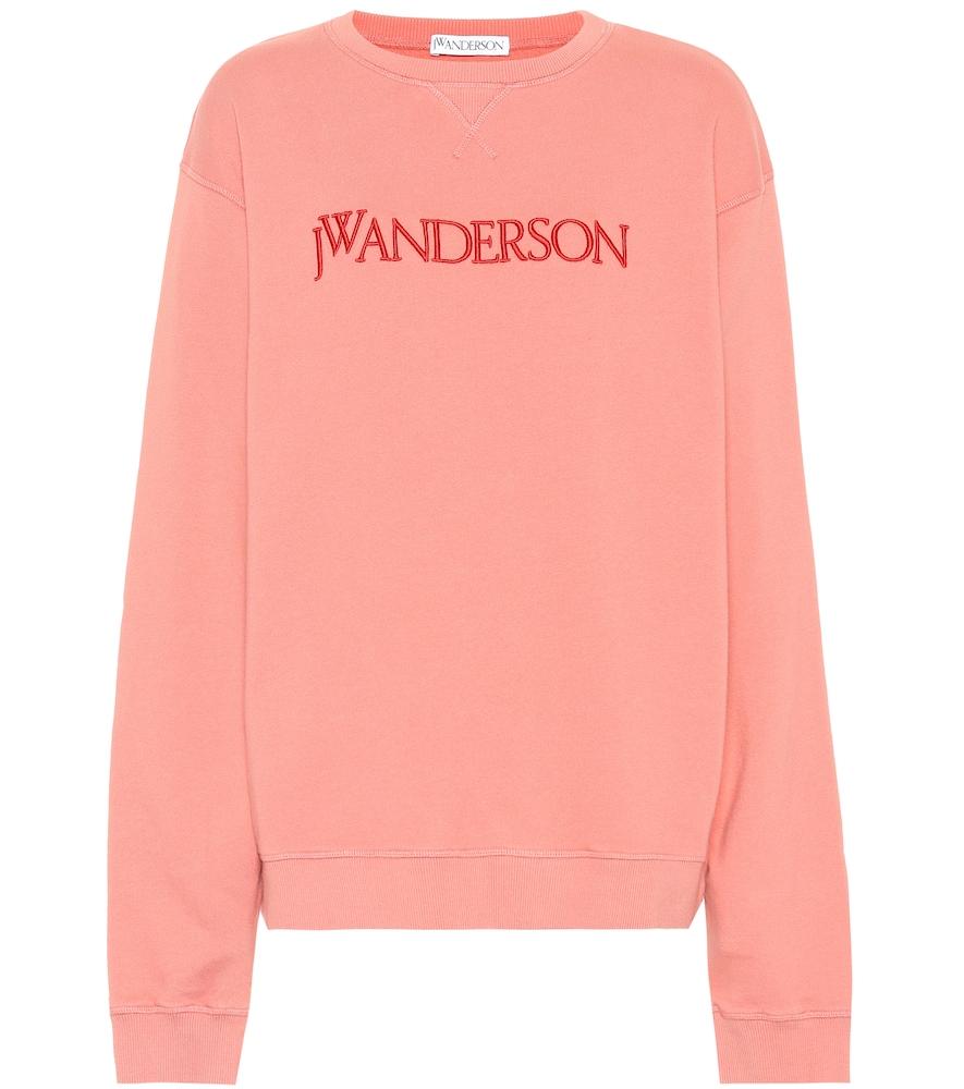Embroidered Logo Crew Neck Sweatshirt in Pink