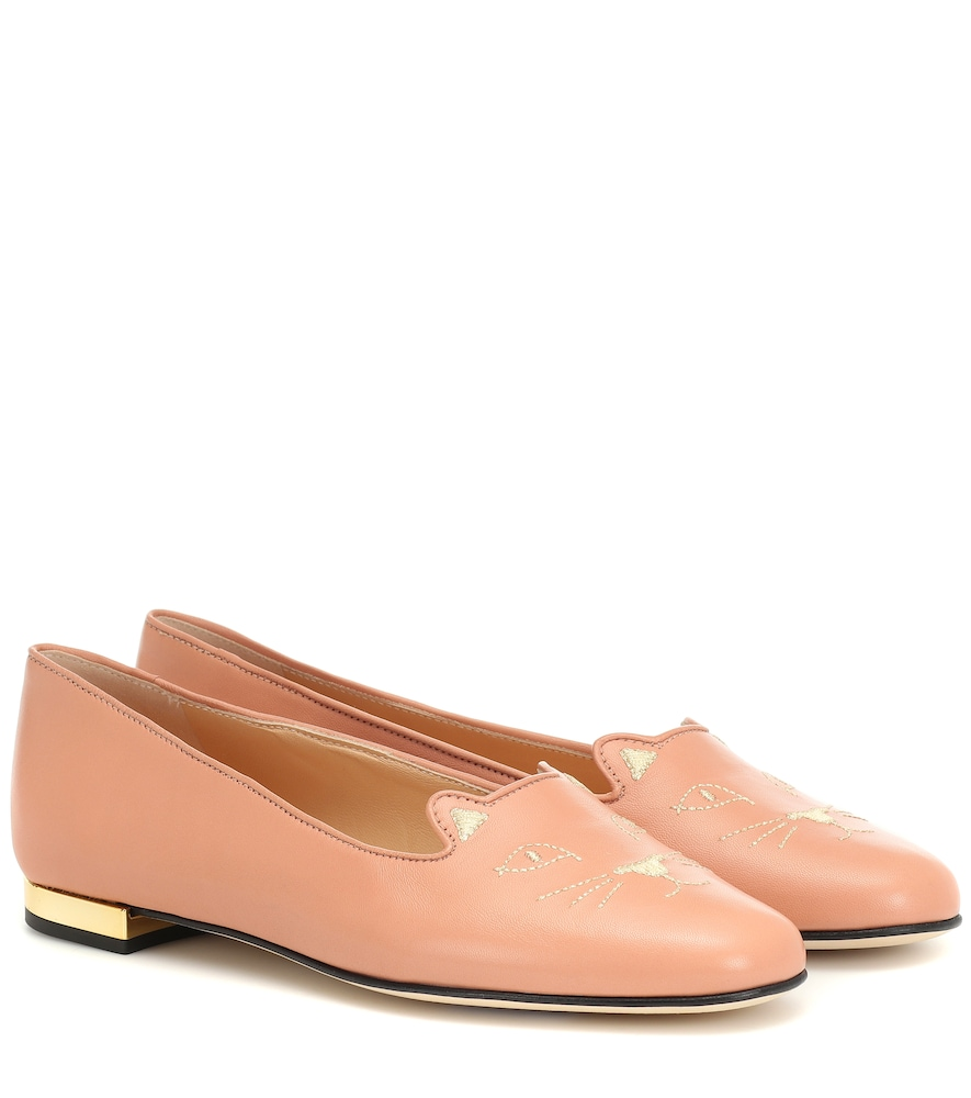 Charlotte Olympia KITTY FLAT LEATHER LOAFERS