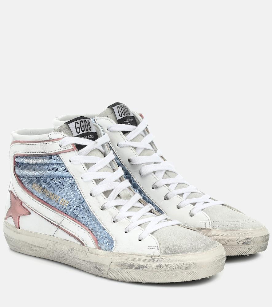 Exclusive to Mytheresa - Slide metallic leather sneakers