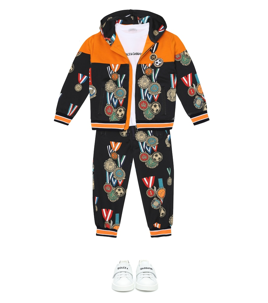 DOLCE & GABBANA Cottons PRINTED ZIP-UP COTTON HOODIE