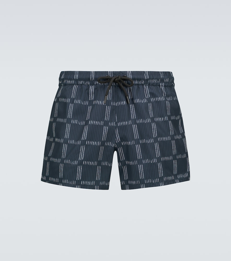 Checked printed swim shorts