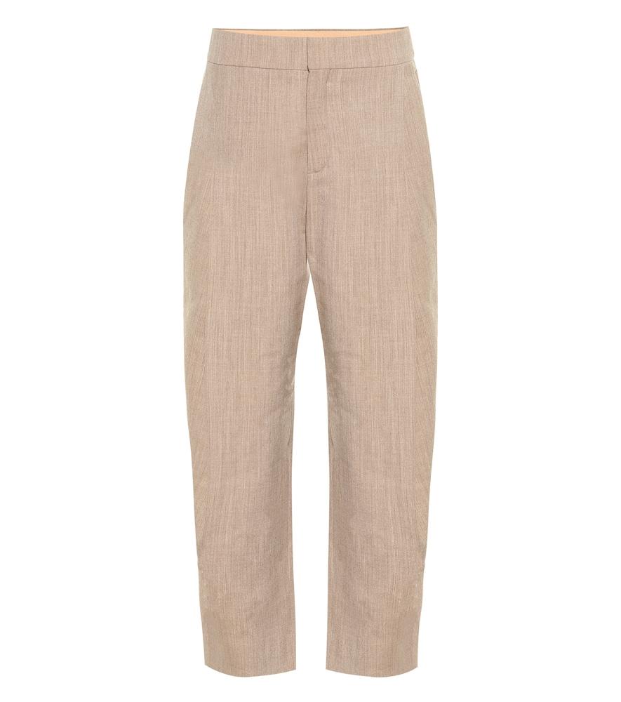 Pantalon en laine mélangée à taille haute - Chloé - Modalova