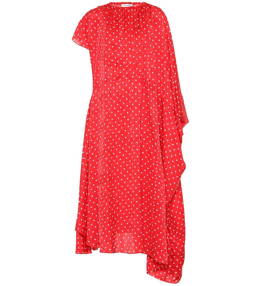 Polka-dot silk midi dress by Balenciaga