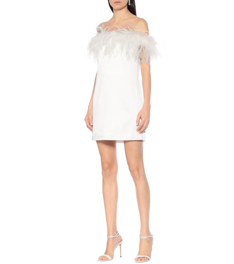 Feather-trimmed crêpe dress by Saint Laurent