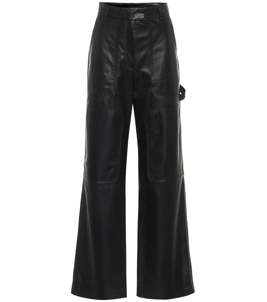 High-rise flared leather pants