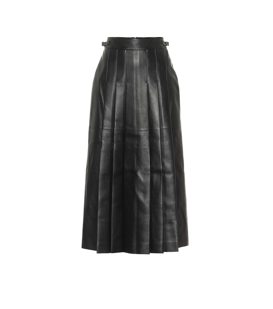Wesley pleated leather midi skirt