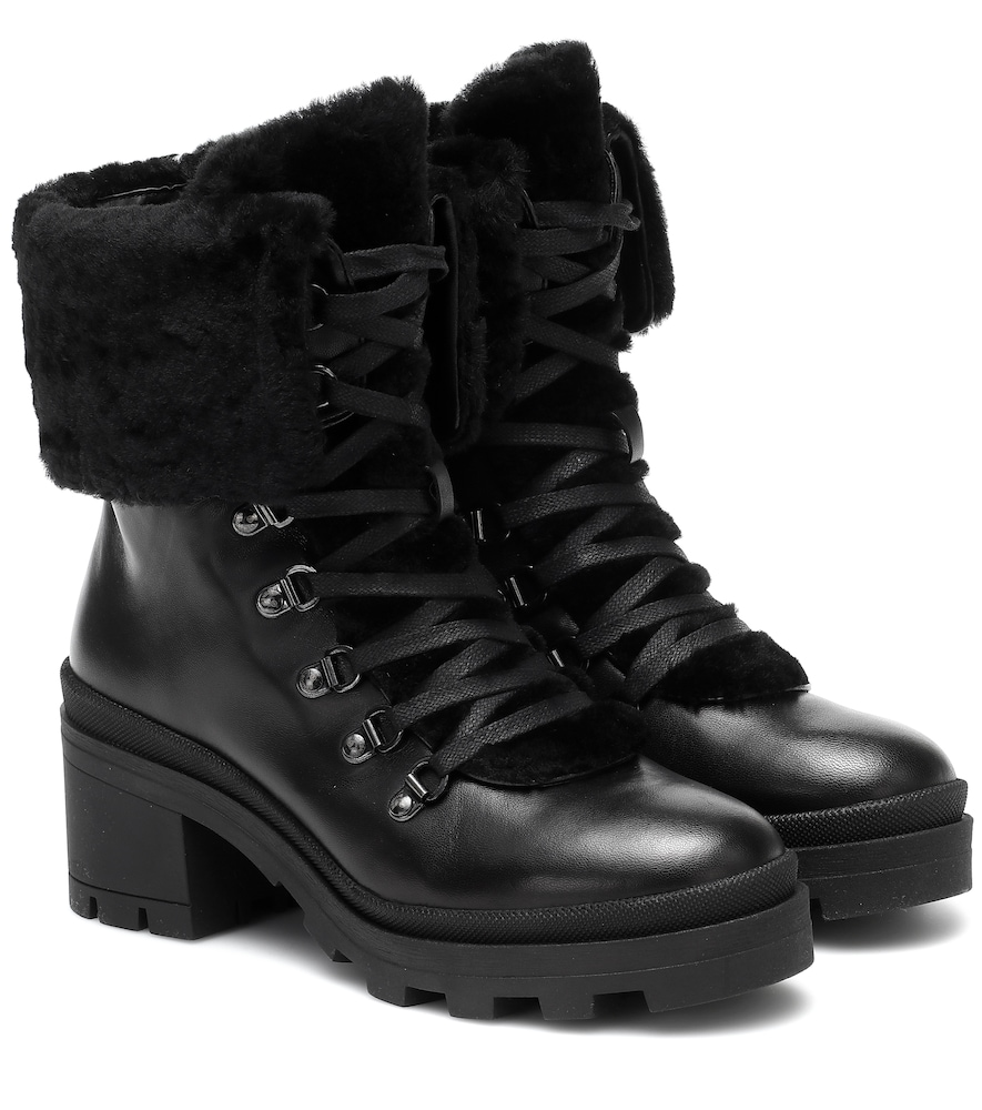 Belgrade leather and shearling ankle boots