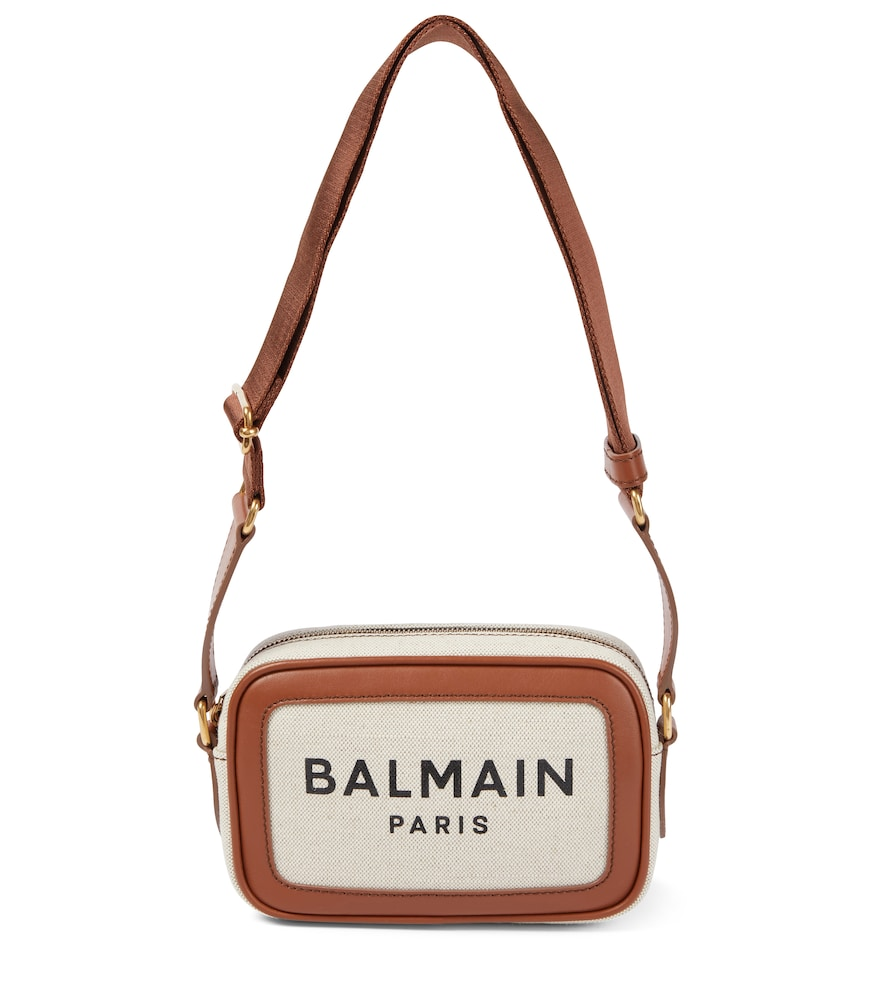 Balmain B-army 18 Small Canvas Camera Bag In Beige