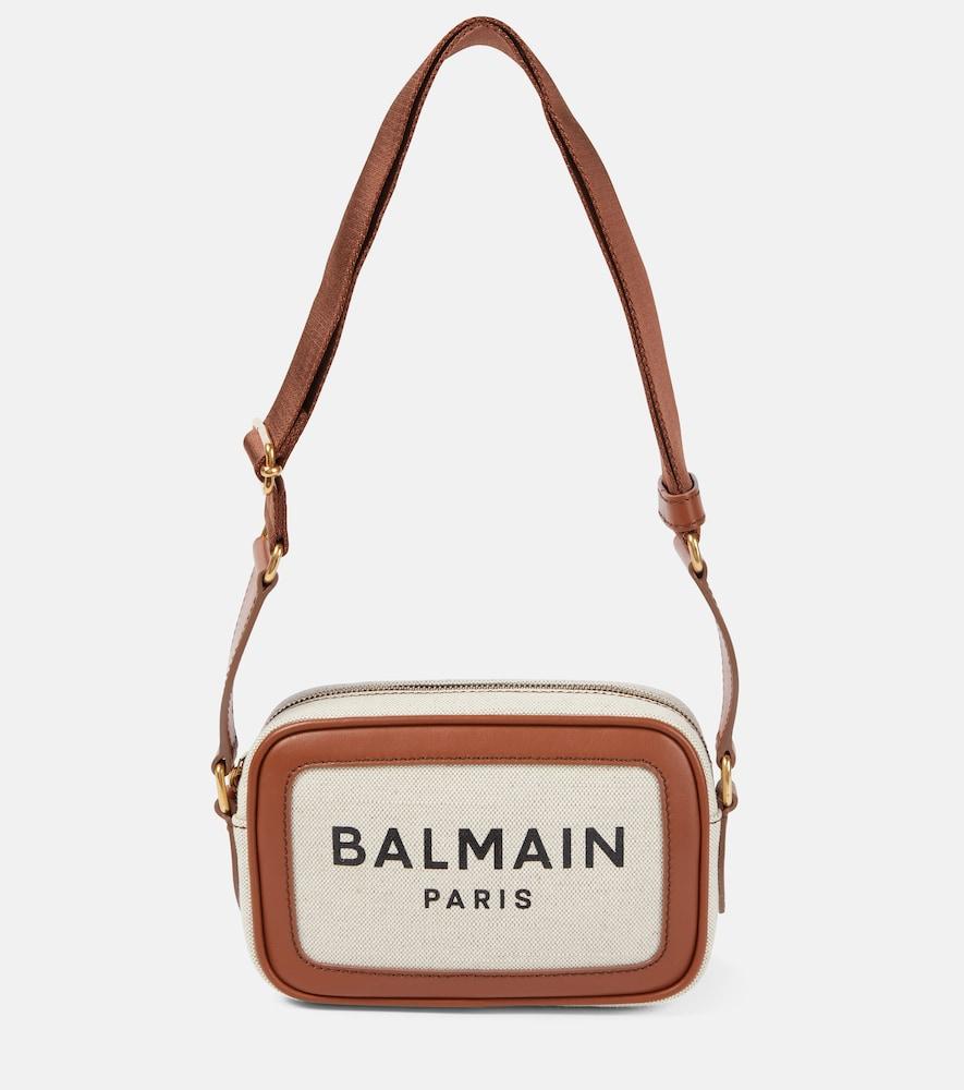 Balmain B-army 18 Small Canvas Camera Bag In Beige