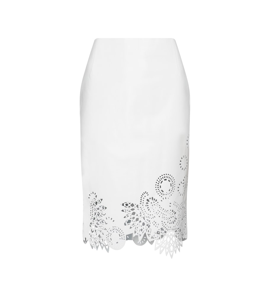 Dries Van Noten LASER-CUT LEATHER MIDI SKIRT