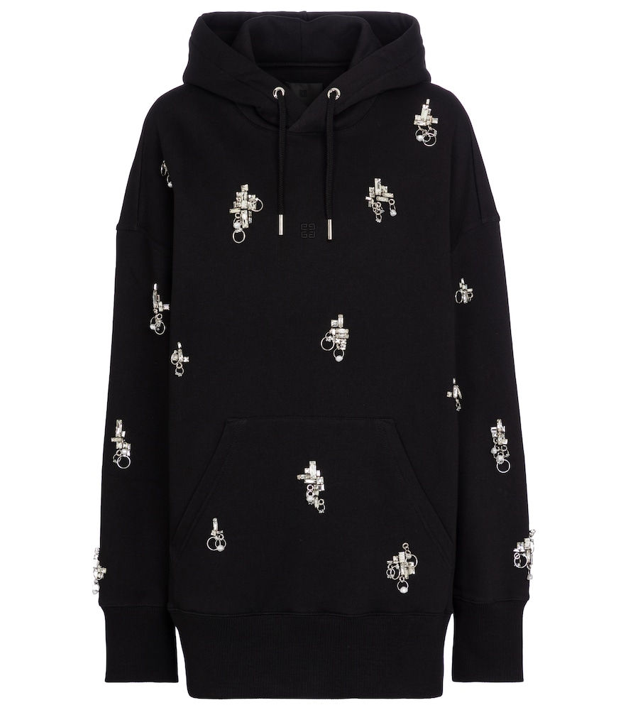 Givenchy Cottons EMBELLISHED COTTON JERSEY HOODIE