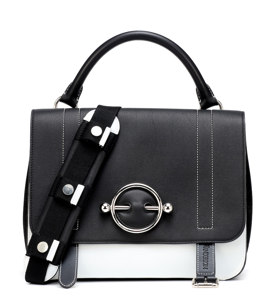 Disc Two-Tone Leather And Suede Shoulder Bag in Black