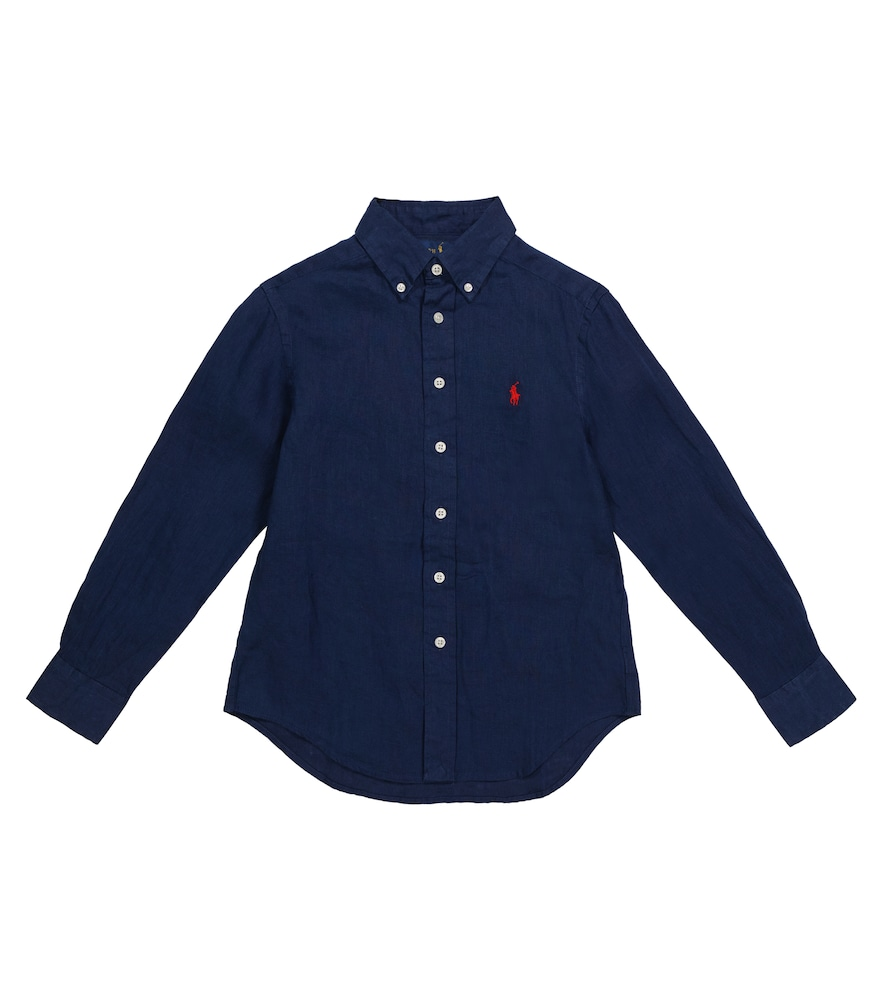 Polo Ralph Lauren Kids' Logo Embroidery Shirt In Blue