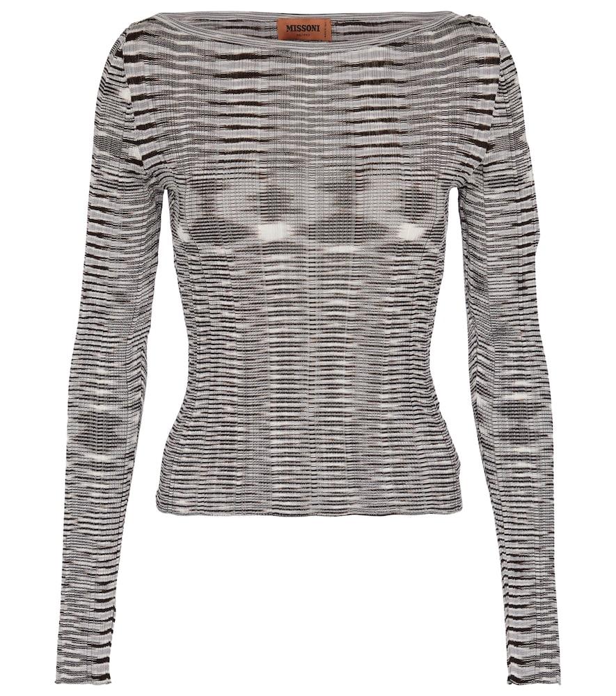 Missoni Striped Knit Top In Black