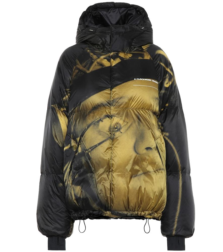 Veste doudoune à capuche imprimée en nylon
