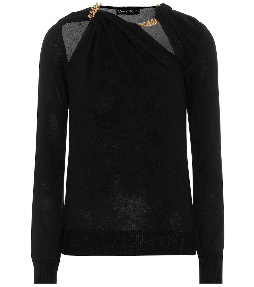 Oscar De La Renta Sweaters CHAIN-TRIMMED SILK SWEATER
