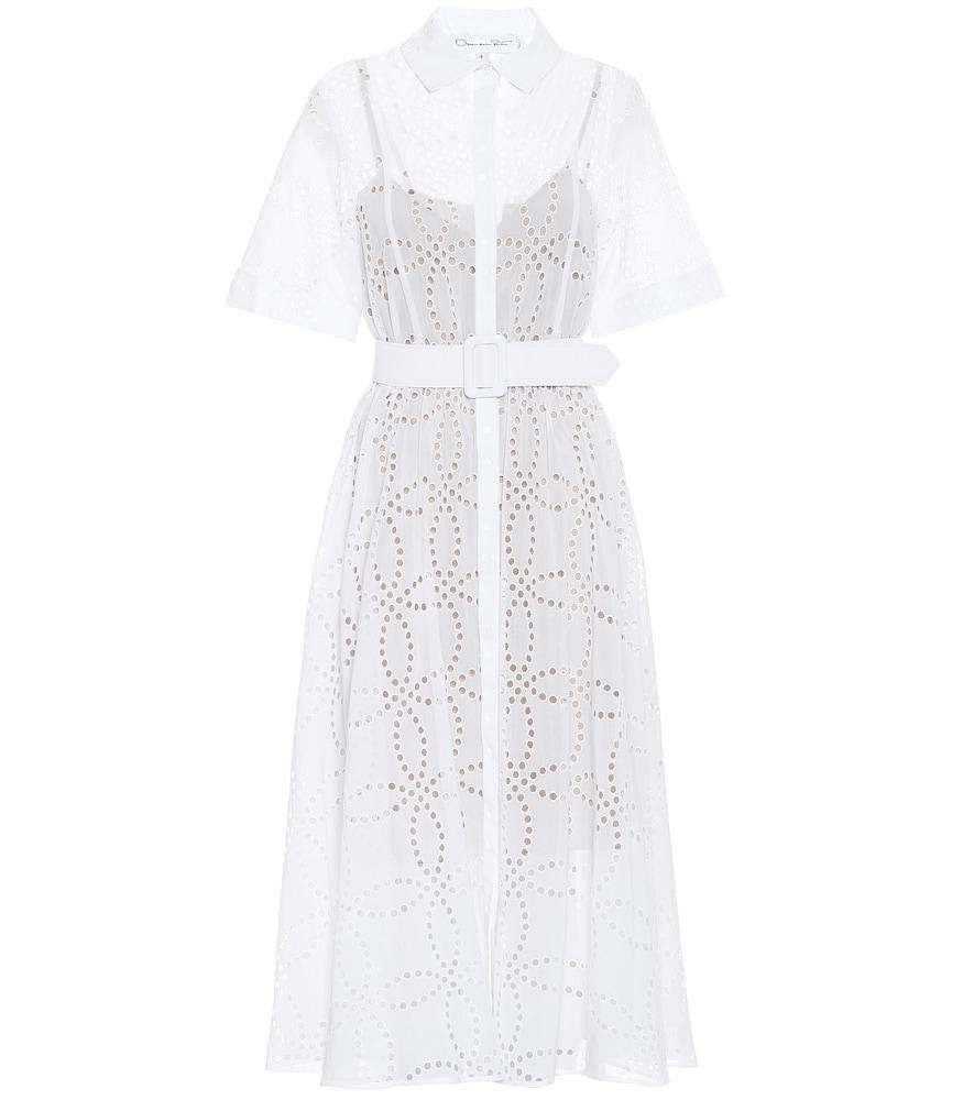Cotton-voile eyelet midi dress by Oscar de la Renta