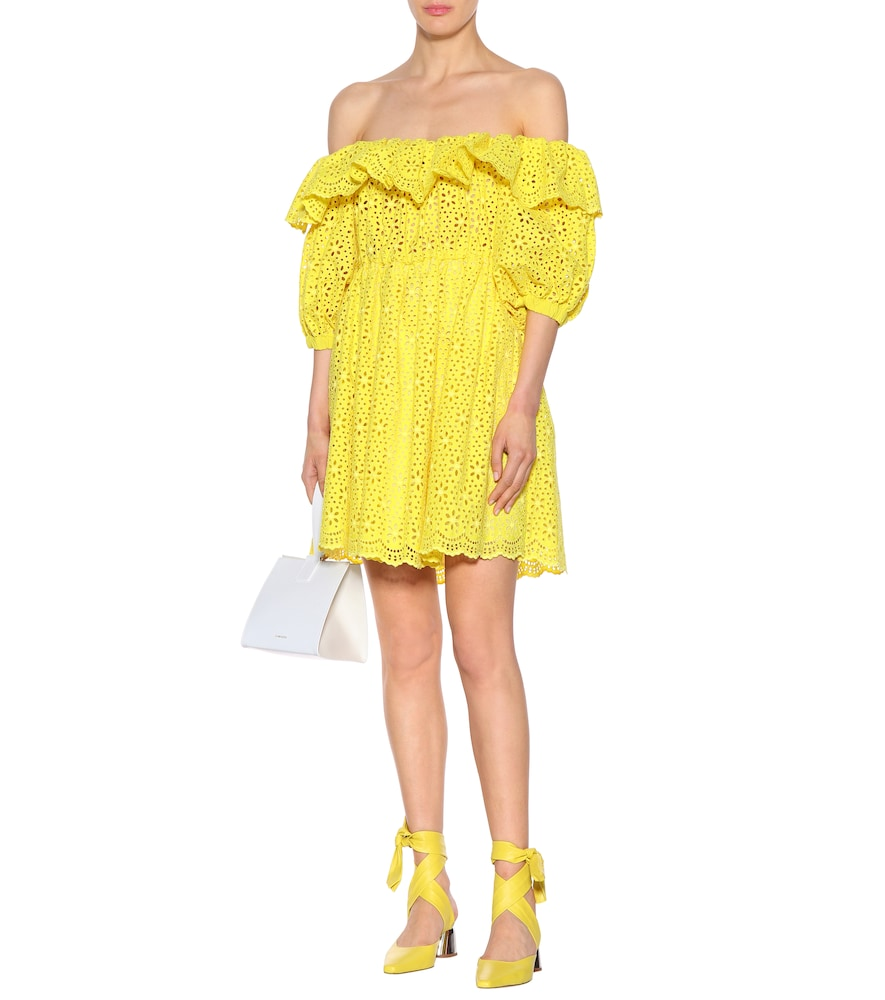Off-the-shoulder cotton dress by MSGM