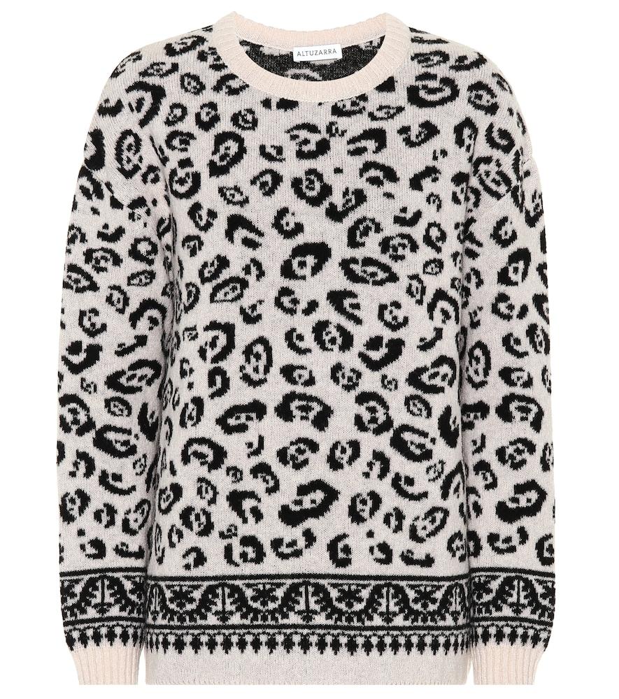 Casablanca Merino Wool-Blend Jacquard Sweater in Beige
