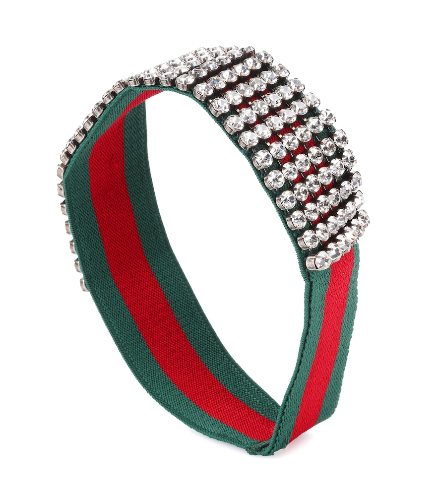 Crystal Embellished Web Headband, Red/ Dark Green