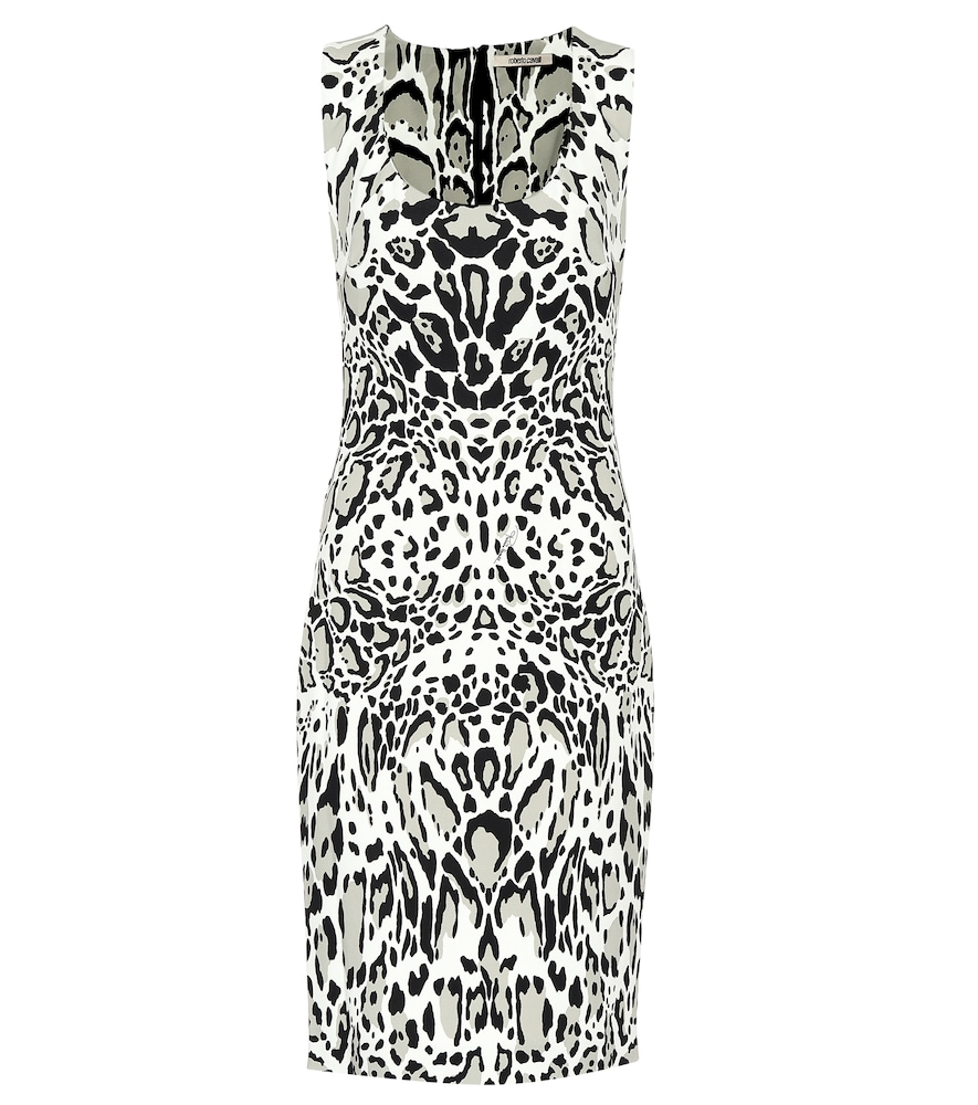 ROBERTO CAVALLI Punto Sleeveless Animal Print Pencil Dress in Neutrals