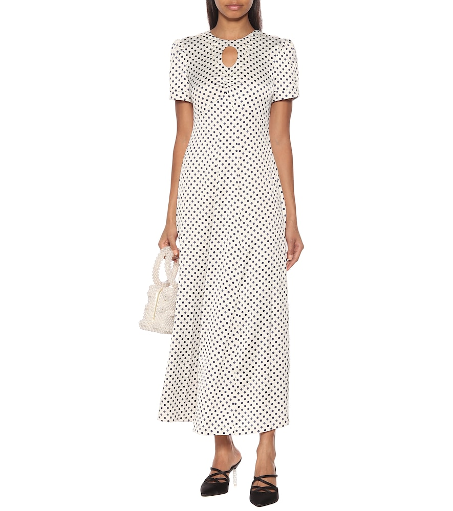 Maria & Dot polka-dot satin midi dress by AlexaChung