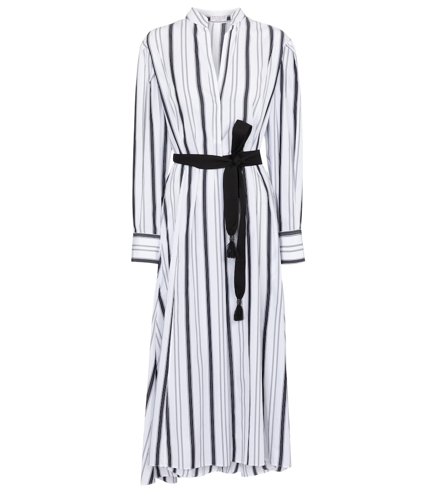 Brunello Cucinelli Dresses BELTED STRIPED COTTON DRESS
