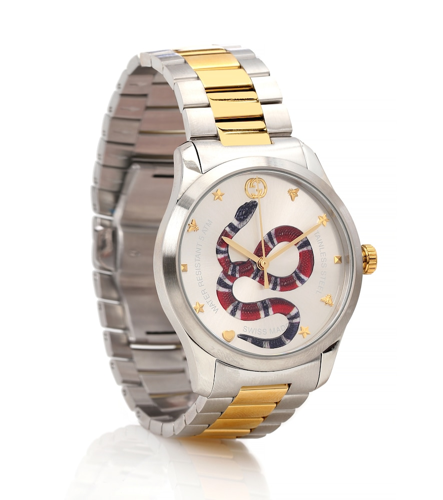 Men'S Snake Yellow Gold Pvd-Trim Bracelet Watch, Female