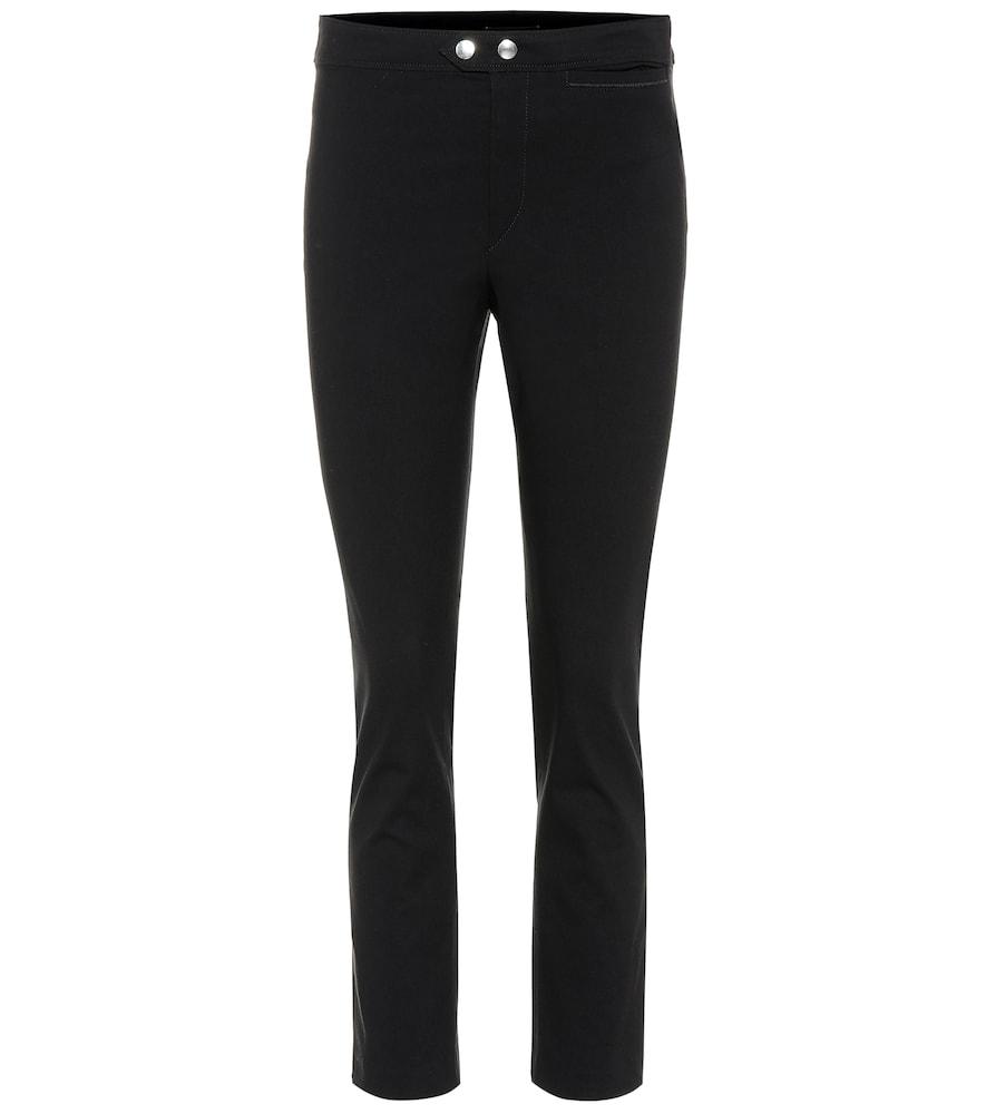Nila High-Rise Straight Crêpe Pants in Black