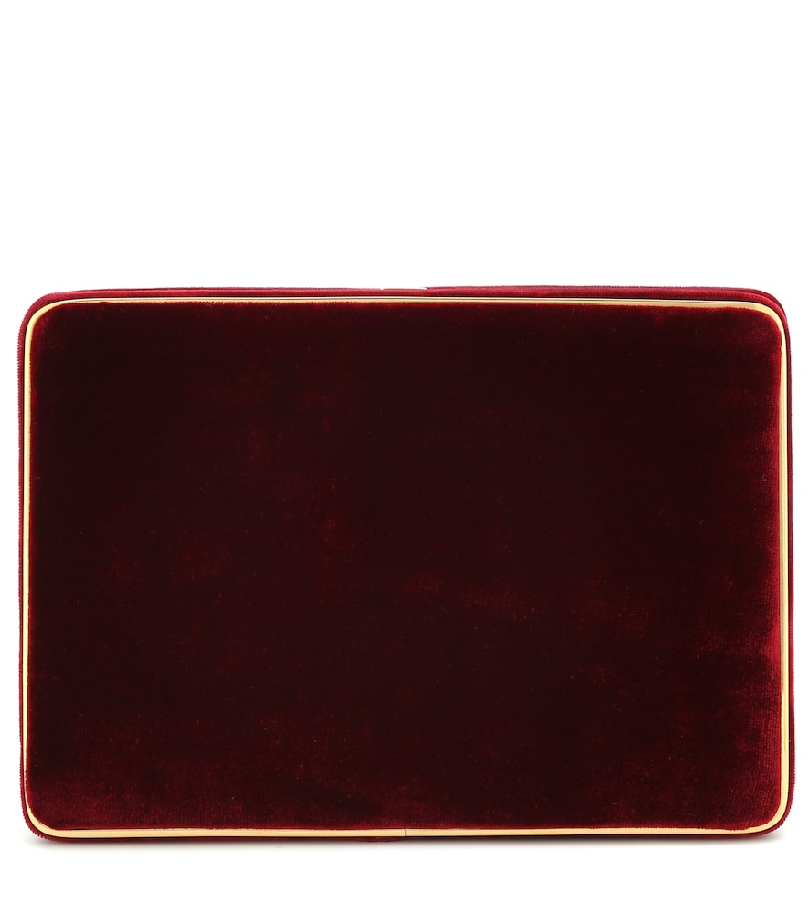 The Square Compact velvet clutch