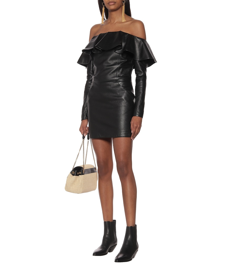 Off-the-shoulder leather minidress by Saint Laurent