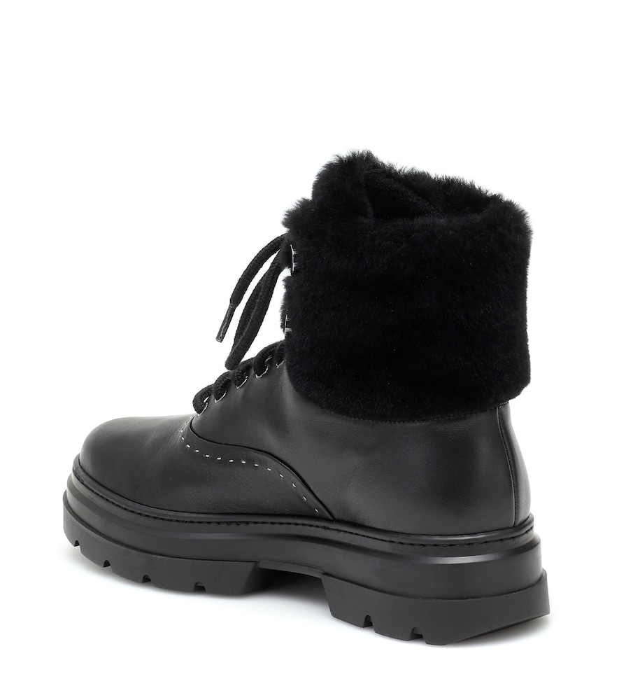 MAX MARA Leathers HARISH SHEARLING AND LEATHER BOOTS