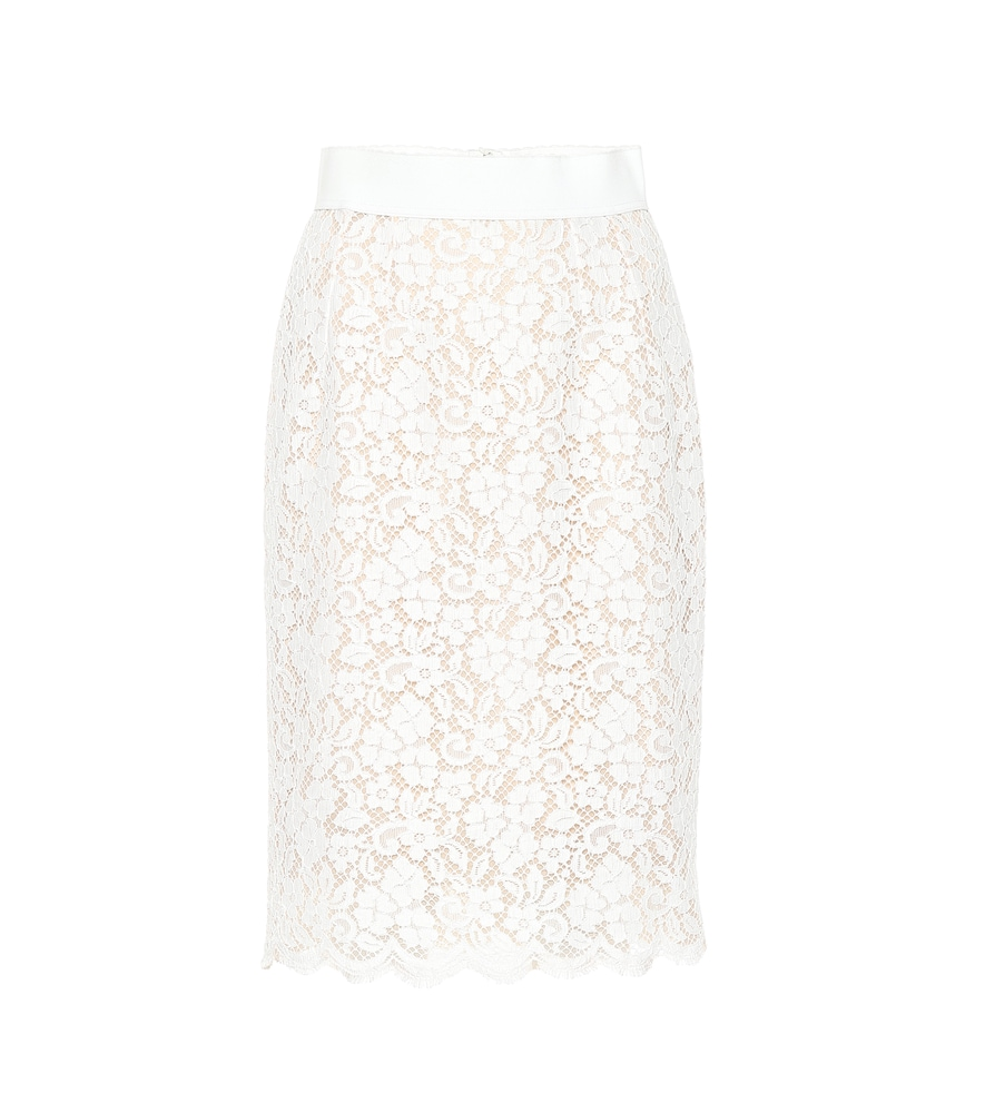 Cotton-Blend Lace Skirt, White