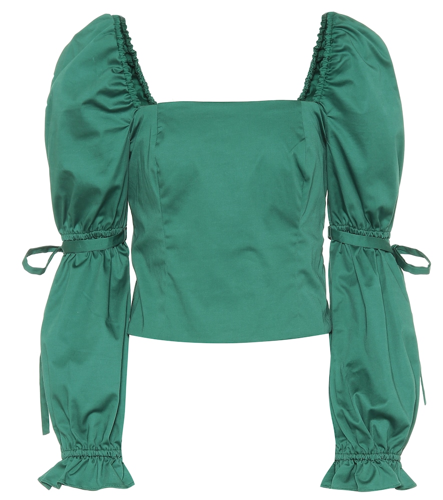 Jackie Poplin Long Sleeved Top in Green
