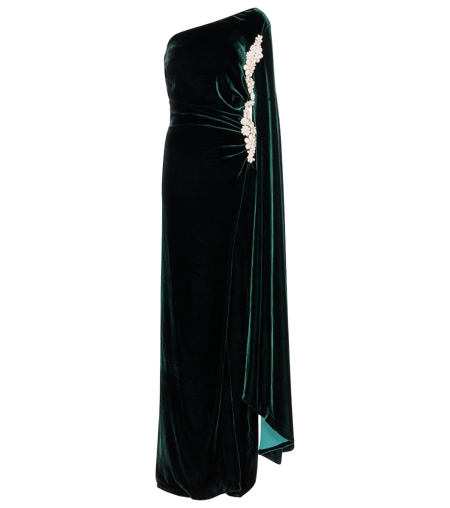 Edwina one-shoulder velvet and silk gown