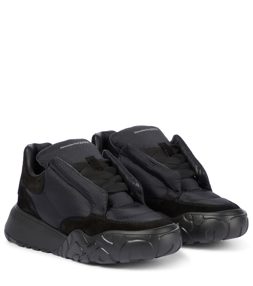Puffy suede-trimmed sneakers