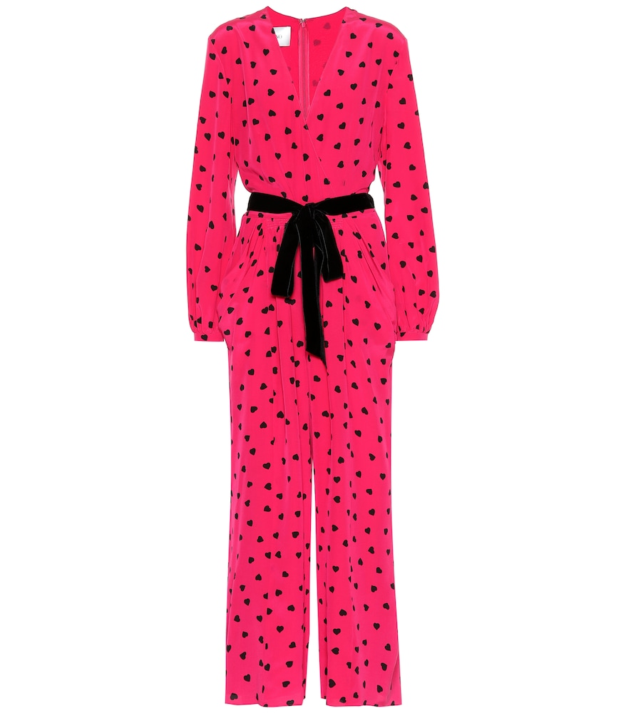 Heart Print Silk Jumpsuit, Pink