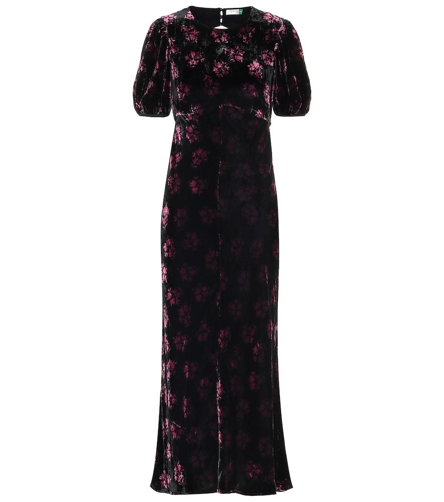 Robe longue Daisy en velours de soie mélangée