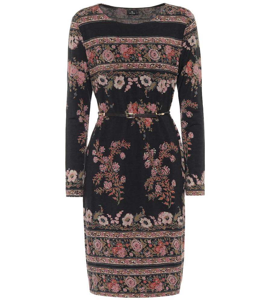 Robe en laine mélangée à fleurs - Etro - Modalova