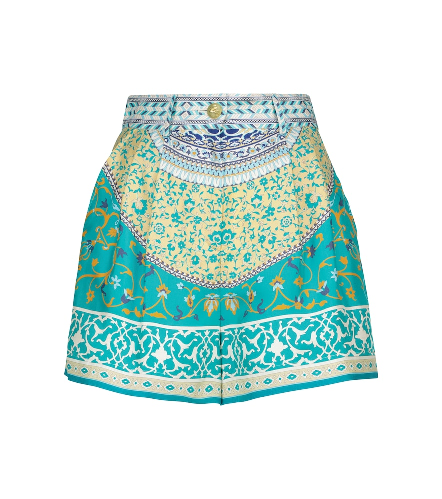 Etro Printed Silk Shorts In Blue