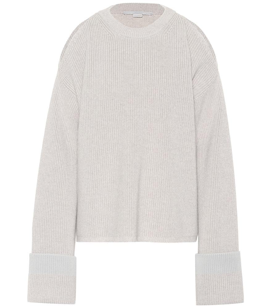 COLD-SHOULDER WOOL SWEATER