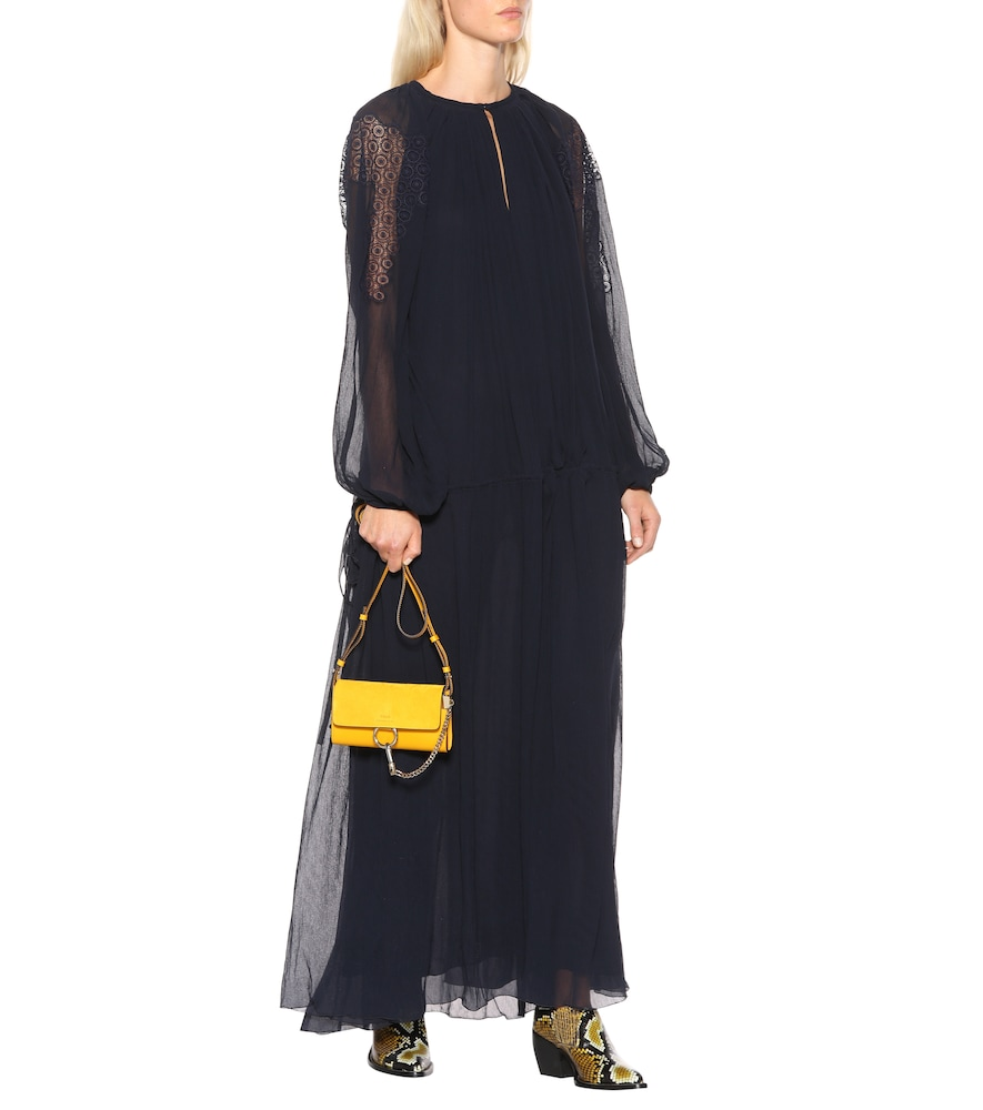 Lace-trimmed silk maxi dress by Chloé