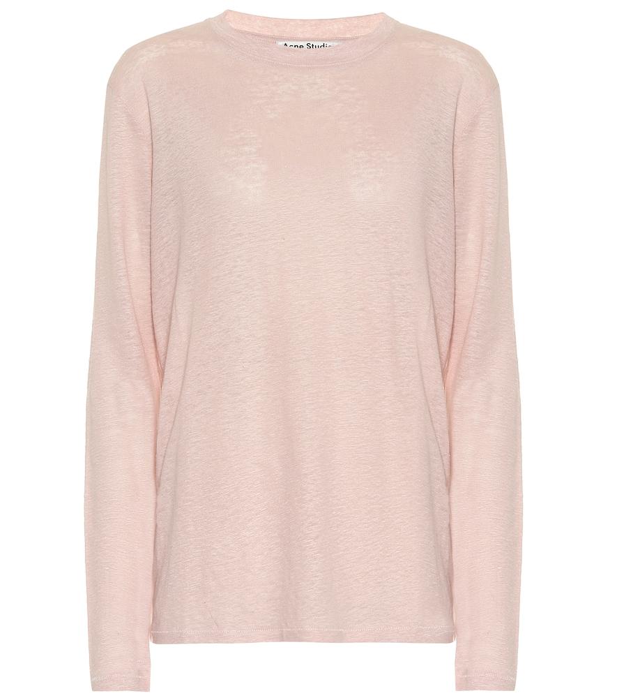 Taline Linen Top in Pink