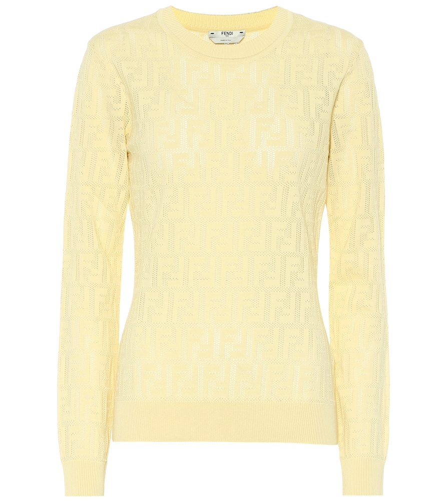 Fendi Logo Intarsia Knit Sweater In Yellow