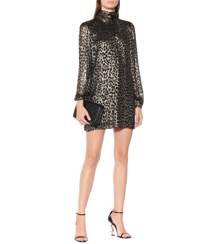 Leopard-brocade minidress by Saint Laurent