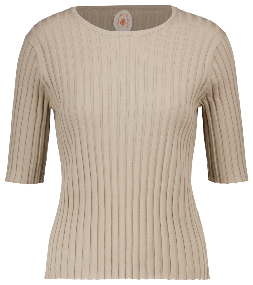 Ribbed-knit cotton and silk top